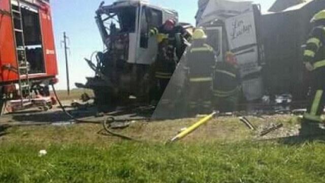 Accidente en ruta 3 km 175 entre cuatro camiones