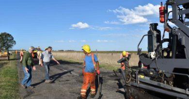 Comenzó la obra de bacheo en la Ruta Provincial 86 hacia Benito Juárez