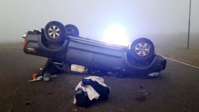 Ruta 85: dos heridos leves en un vuelco