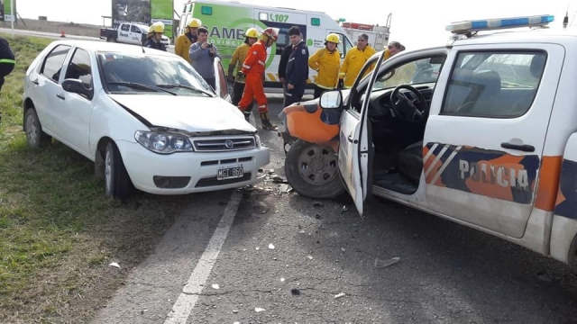 Ruta Nº 85: cinco heridos en un choque frontal