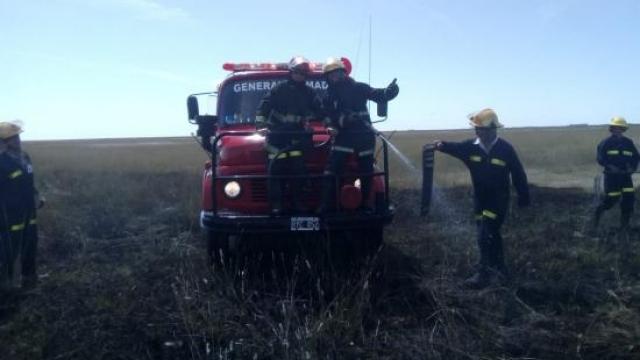 Los Bomberos de La Madrid trabajaron en un voraz incendio en un campo